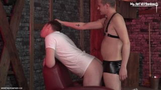 nasty jock spits on & slaps young lad's face during hot session
