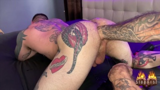 Heavily-Ink Man Gets His Hairy Hole Fisted
