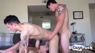 Inked Stud Face Fucks Girl While Getting His Ass Plowed