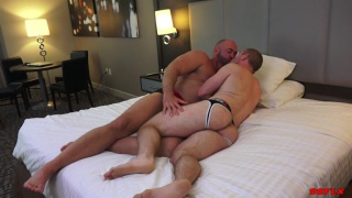 beefy daddy fucks a blond muscle boy's bare ass