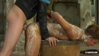slave boy covered in wax and hog tied gets fucked
