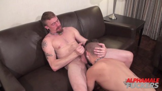 bearded daddy screws this cocksucker hard on the couch