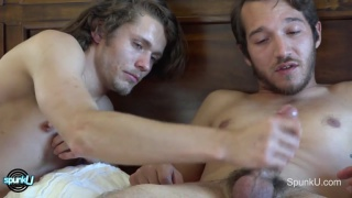 straight guys do some side-by-side jerking
