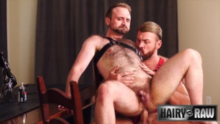 blond hairy man in red harness fucks a bear's ass
