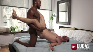 top stud drives his long black cock into bottom's hurting ass