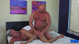 silver daddy worships a beefy man's cock