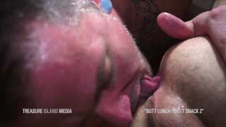 max cameron sucks cum out of boy's man pussy