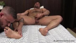 sean harding worships his real-life lover's bare feet