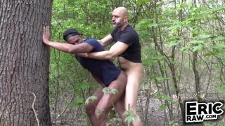 bald man pushes a jogger against a tree & fucks him