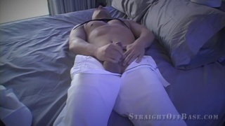 hunk sailor jacking off with his pants on