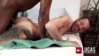 bearded guy gets his ass pounded by hung black hunk