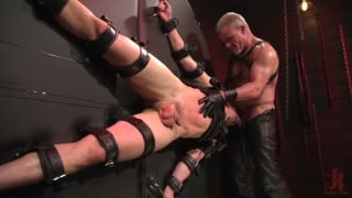 big-dicked stud arrives in man's dungeon ready to serve