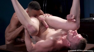 black guy feasts on white's dudes butt hole before fucking it