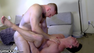 blond muscle hunk gets his furry round ass fucked