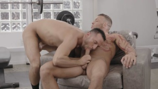 sexy daddy sits a chair & gets blown by his son's best-friend