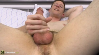 cute fair-haired guy with big nuts in first JO video