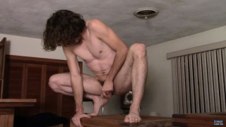 straight guy with long hair jacking off in weird places