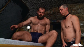 bearded master fucks young lad in his dungeon