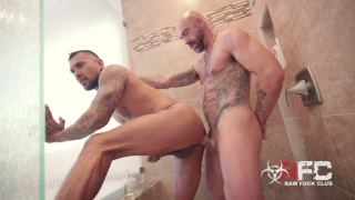 latino hunk with 10-inch cock gets fucked by mega-hung bald man