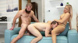 guy eats pussy while getting his ass fucked by hunk