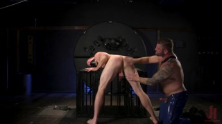 beefy hairy hunk fucks hung stud in BDSM bareback scene