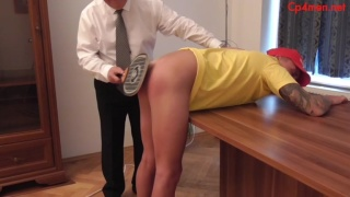 Lifeguard Bent Over Table & Spanked by Manager