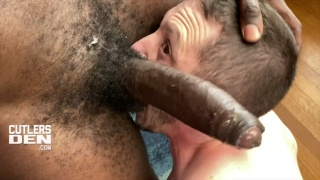 scruffy-faced lad takes a 10-inch monster cock