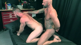 Bearded Bottom Impales Himself of Daddy's 9-Inch Dick