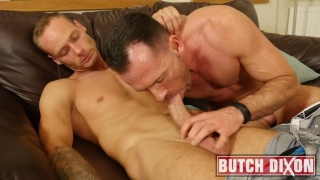 Handsome Daddy Swallows Hunk's Big Uncut Cock