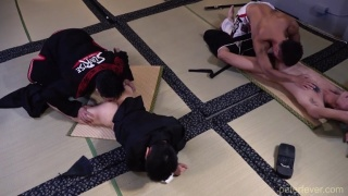 Four Asian Boys Fuck on the Dojo Floor