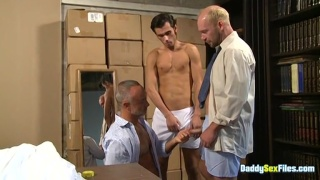 Threesome Starts as Circle Jerk, But One Man Gets Greedy