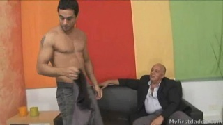 Old man Borja gets cock from young stud