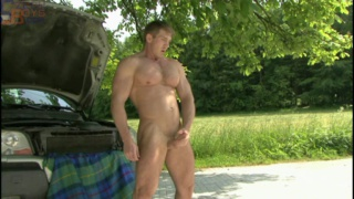 masculine fitness trainer shows of his perfect body naked