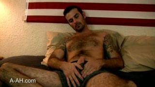 Tattooed marine gets naked and strokes