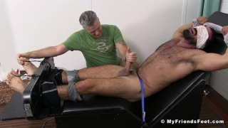 hairy hunk gets tickled and cock edged