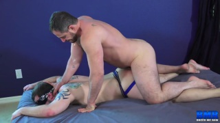 beefy blindfolded guy get his ass pounded