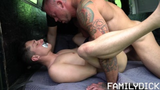 muscle man fucks his bound stepson in back of van