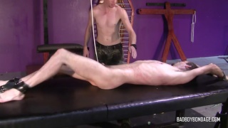young lad gets his balls roped in intense session