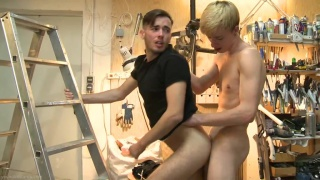 guy gets fucked against a ladder by his blond buddy