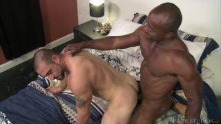 bearded daddy gets his ass pummeled by a black muscle hunk