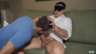 girl blindfolds her boyfriend for a blowjob, and then ...