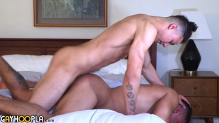 muscle hunk guides dude through his first guy-on-guy experience