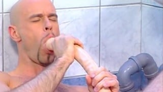 Jock fuck himself with a huge lond dildo