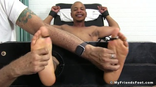 this guy's cock gets harder the more he gets tickled