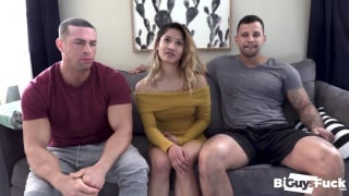 big beefy men share a woman & fuck each other