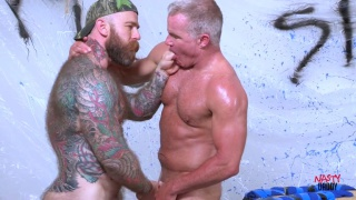 silver daddy gets his hole wrecked by this big fat cock