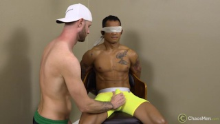 ripped straight guy blindfolded for his first blowjob
