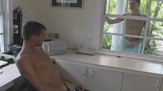 jocks jacking off & watching one another through a window