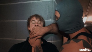 masked muscle & inked man forces blond lad to service his dick