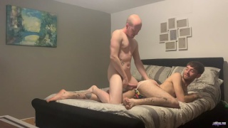bald stud fucks twink with very hairy legs